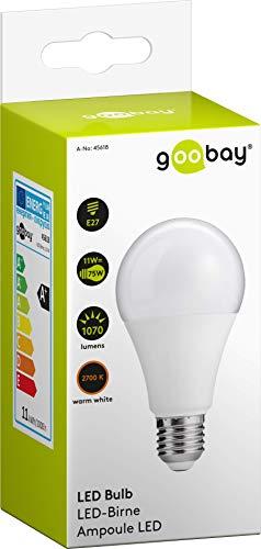 Goobay–Bombilla LED, 11W;–Casquillo E27, Equivalente a 75W, de color blanco cálido, no regulable