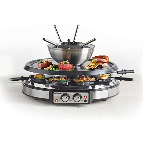 GIVENEU Electric Fondue Pot Sets with BBQ Grill, 1500W Fondue Pots with 8 Forks and Electric Raclette BBQ Grill, Dual Adjustable Thermostats, Perfect Fondue Grill Combo for 8 People Serve