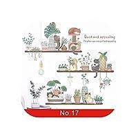 ベッドルーム用ウォールステッカー|24スタイル植物シリーズウォールステッカー用リビングルーム寝室緑の葉取り外し可能な壁のステッカービニールDIY環境に優しい壁画-No.17-大