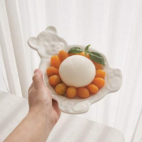 Neaer Platos de porcelana de cerámica de postre Kawaii Plato de cerámica platos de vajilla para platos de comida y cuencos, platos de cerámica frutales y platos (color: plato blanco)