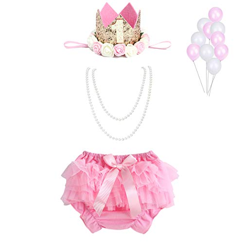 WELROG Baby Girls Cake Smash Outfit - Tutu Bloomers Diaper Cover Headband Pearl Necklace for First Birthday (Pink)