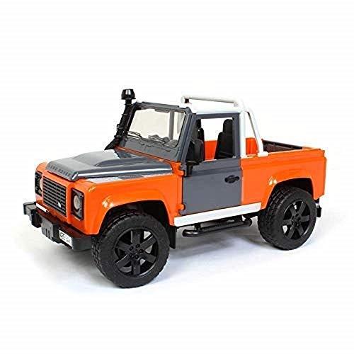 Bruder - Pick-up Land Rover Defender, Macchina agricola in scala , Arancione   Grigio
