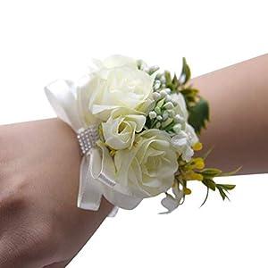 Silk Flower Arrangements 2 Pcs White Wedding Bride Wrist Corsage Bridesmaid Wrist Flower Artificial Rose Ribbon Bow Bracelet for Wedding Prom Party