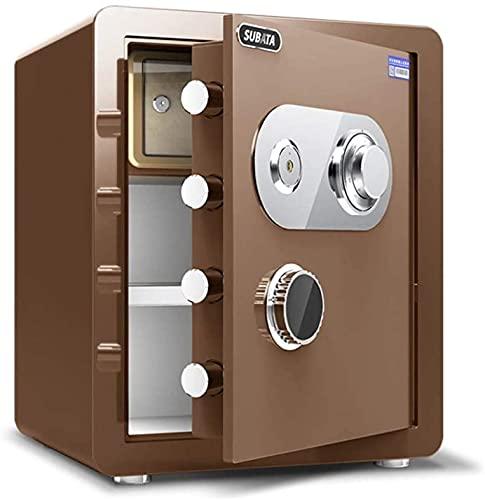TOPNIU Caja fuerte mecánica, pequeña caja fuerte de acero para la oficina en el hogar, a prueba de fuego, impermeable y antirrobo, caja de almacenamiento para joyas (color: oro café)