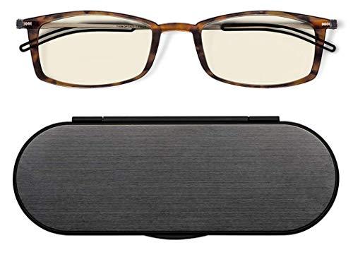 ThinOptics unisex adult Milano Aluminum Case + Frontpage Brooklyn Reading Glasses, Tortoise Frames Blue Light Filtering, 44 mm US