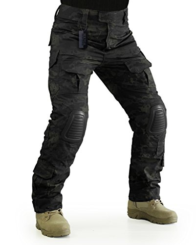 ZAPT Tactical Pants with Knee Pads Airsoft Camping Hiking Hunting BDU Ripstop Combat Pants 13 Kinds Army Camo Uniform Military Trousers (Multicam Black, L36)