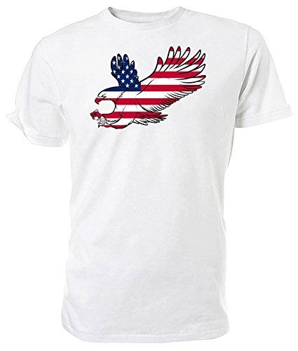 American Eagle Flagge T Shirt, US Eagle, Weiß - weiß - Größe: S