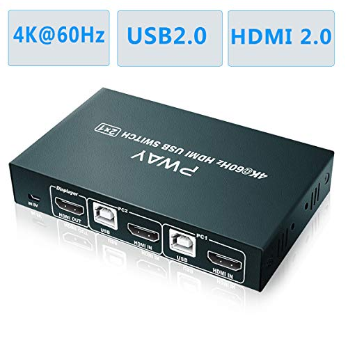 GHT HDMI KVM Switch 2 Port 4K, 2 PC 1 Monitor, 4K@60Hz, USB 2.0, HDMI 2.0,Umschalter KVM, Unterstützung Windows 10/7/2000 / XP/Vista/Linux/Unix/Mac/Ubuntu/Fedora, etc