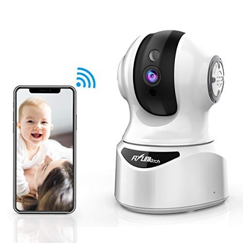 FLYLINKTECH Überwachungskamera, WLAN, Full HD, 1080P, Sprachsteuerung mit Alexa, IP Dome-Kameras, Innenbereich, 2-Wege-Audio, Bewegungserkennung, Nachtsicht, Pan/Neige/Zoom 1 weiß