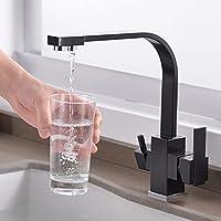 飲料水キッチン蛇口、デュアルハンドルキッチンシンク蛇口ホットとコールド3ウェイキッチン蛇口飲料水、黒、中国