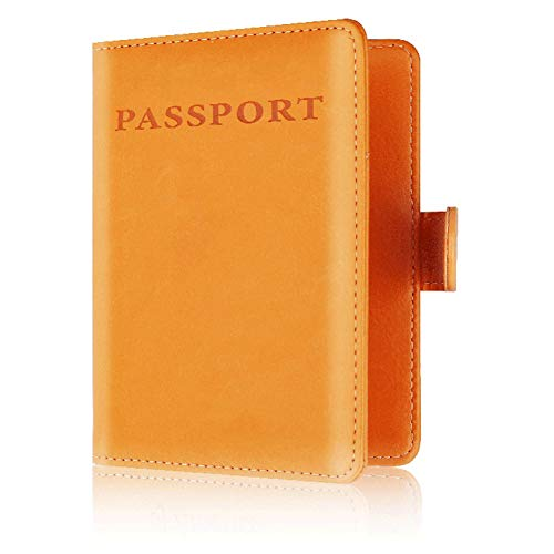 BAKUN RFID Blocking Passport Holder Cover Wallet Leather Card Carrier Case, Travel Document Organizer Case for Men & Women(Orange with Buckle)