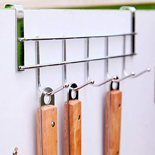 QAZLP En la puerta de acero inoxidable 5 ganchos de la ropa de la puerta del baño colgando anillo organizador de baño dormitorio cocina