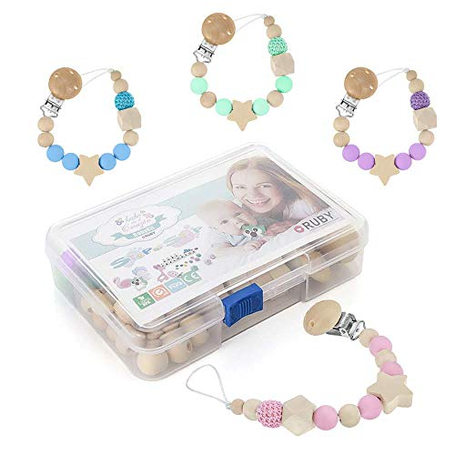 RUBY - Kit 4 Chupeteros con pinzas de madera y bolas silicona antibacteria para bebe, cadena para chupetes con clip de madera 4 colores para regalos combinables,