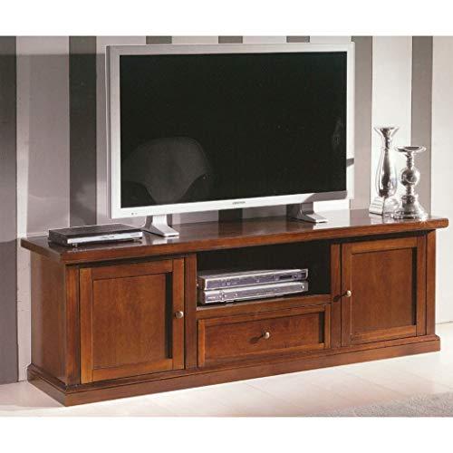 Milani Home s.r.l.s. Mobile TV Porta TV Tinta Noce 45 X 160 X 56 per Interno Sala da Pranzo Salotto Cucina Ufficio Massello Arte Povera