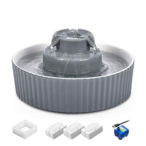 VinDox Fuente de cerámica para gatos, fuente de 2,1 L para gatos y perros, fuente de porcelana, dispensador de agua para gatos con 3 filtros de carbón activado y filtro de espuma de esponja (gris)