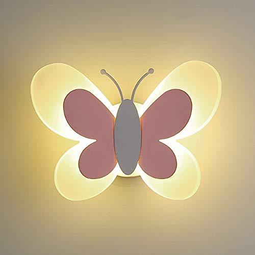 AKBOY Lampada Muro LED Bambini Cameretta Della Lampada Applique a Farfalla Applique da Parete Della Scuola Materna in Acrilico Butterfly Light, Luce Parete Interni per Vivaio Stanza Bambini,Grigio