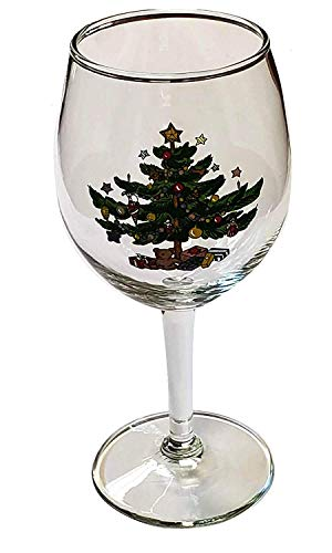 Nikko Ceramics Christmas 11-Ounce All-Purpose Goblet Wine Glass - Set of 4