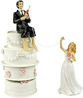 Hooked on Love Fishing Groom and Reaching Bride Wedding Cake Toppers