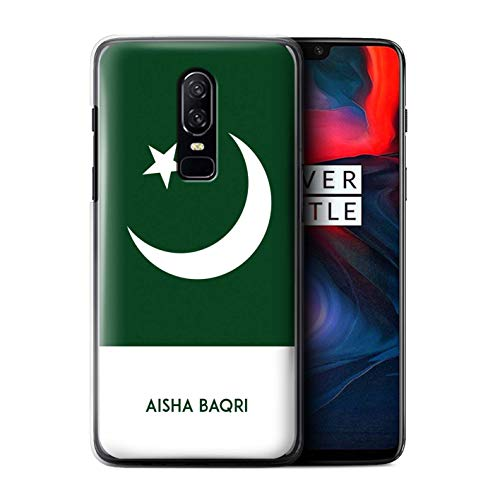 Personalized Custom National Nation Flag 3 Case for OnePlus 6 / Pakistan/Pakistani Design/Initial/Name/Text DIY Cover