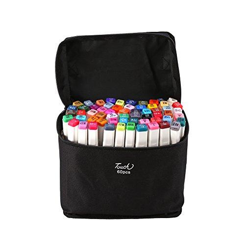 60Kleuren Marker Pen Set met Dual Tips Grafische Tekening Schilderen Alcohol Markers Pens met Draagtas Animatie Tekenen Art Pen