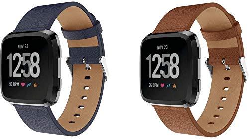 Chainfo Correa de Reloj Piel Compatible con Fitbit Versa 2 / Versa 2 SE/Versa Lite/Versa smartwatch, Correa/Banda/Pulsera/Strap (Pattern 1+Pattern 2)