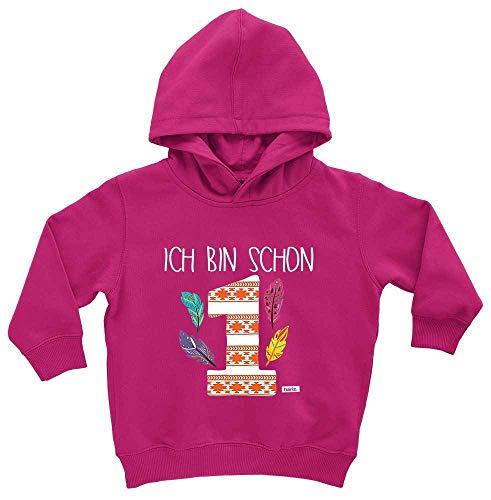 HARIZ HARIZ Baby Hoodie Ich Bin Schon Eins Indianer 1 Geburtstag Geschenkidee Plus Geschenkkarten Einhorn Fuchsia 1-2 Jahre