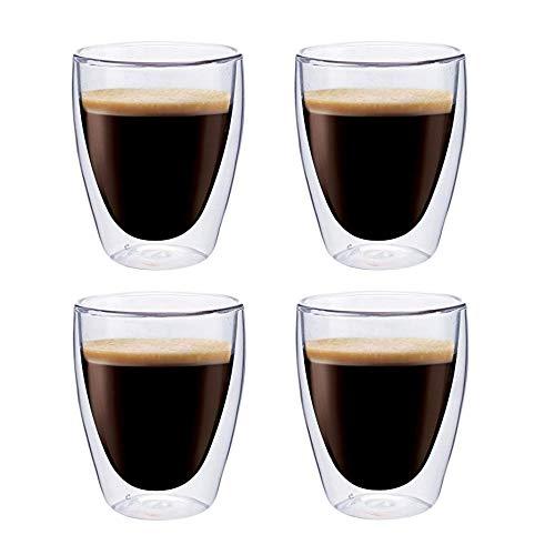 Maxxo Vasos de Doble Pared Coffee 4X 235 ml Copas de Vidrio Térmico Resistente al Calor y Frío Tazas con Efecto Flotante para Té y Café