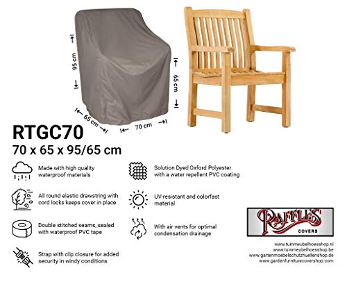 Raffles Covers NW-RTGC-70 Cover voor hardhouten tuinstoel 70 x 65 H:95/65cm Cover voor tuintafel, Outdoor cover voor tafel, Cover voor terrastafel
