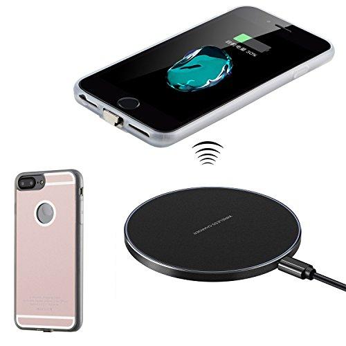 Antye Kit Qi Caricatore Senza Fili per iPhone 7 Plus/ 6S Plus/ 6 Plus (5,5 Pollici), Anche Wireless di Ricarica Ricevitore Caso e Qi Wireless Pad Ricarica