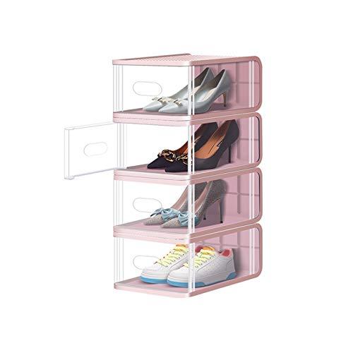 Zapatero pequeño Caja de zapatos apilable zapato cajas de almacenamiento organizador robusto plástico puerta y tapas cajas de zapatos transparentes conjunto de Hall de entrada zapatero ( Color : E )