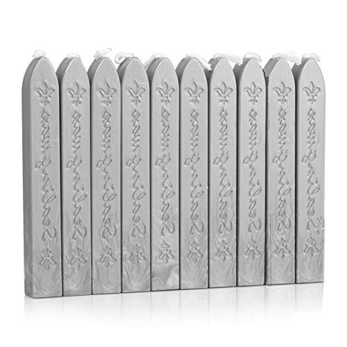 Manuscript Sealing Seal Wax Sticks Wicks for Postage Letter (10PCS Silver)