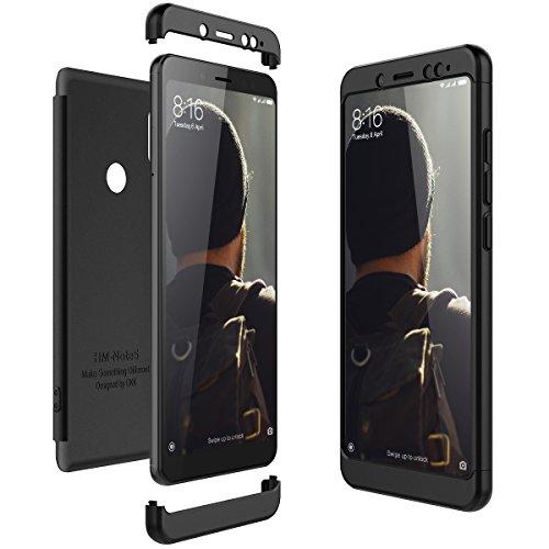 CE-Link Cover Xiaomi Redmi Note 5 360 Gradi Full Body Protezione Custodia Xiaomi Redmi Note 5 Silicone Rigida Snap On Struttura 3 in 1 Antishock e Antiurto Case AntiGraffio Molto Elegante - Nero
