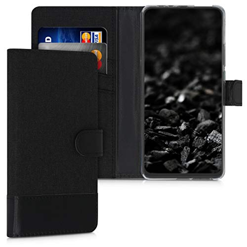 kwmobile Hülle kompatibel mit Motorola One Hyper - Kunstleder Wallet Hülle mit Kartenfächern Stand in Anthrazit Schwarz