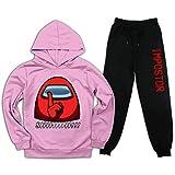 Among Us Red Impostor Shhhh - Conjunto de chándal juvenil con capucha y pantalones deportivos para niños y niñas