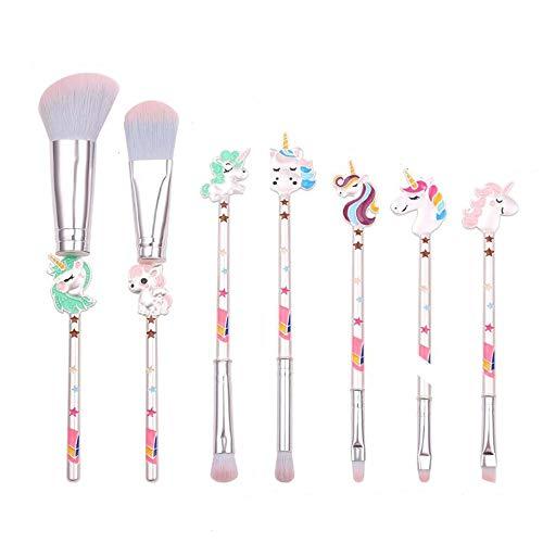 Coshine 7pcs Unicorn Cute Makeup Brushes, Metal Kawaii Fairy Makeup Brush Set for Eyeshadow, Blusher, Foundation, high light and Concealer