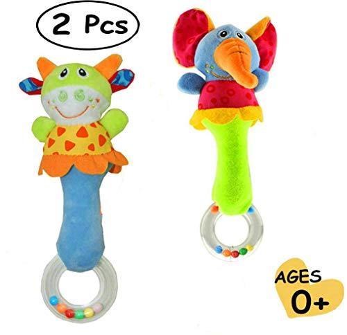 GuDoQi 2 Pezzi Sonajeros Juguetes para Bebés de Educación Temprana, Juguetes Sensoriales de Instrumentos Musicales, Bebés y Recién Nacidos en 3-12 Meses