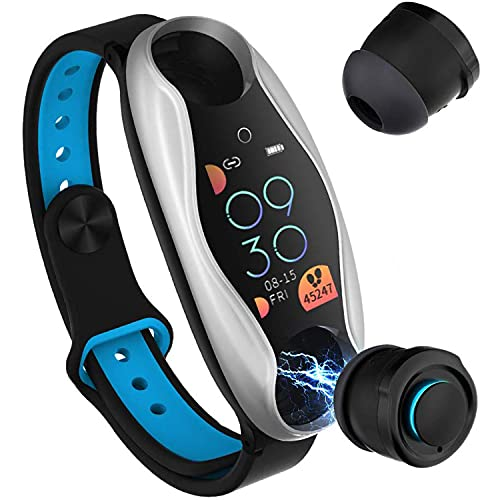 Smart Watch & TWS Earbuds 2 en 1 BT 5.0 True Wireless Auriculares - Pulseras inalámbricas Bluetooth 5.0 auriculares Fitness Tracker presión arterial frecuencia cardíaca podómetro pulsera Earbuds