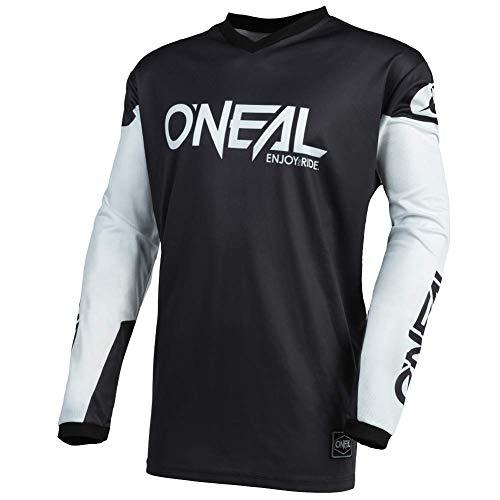 O\'NEAL | Motocross-Trikot | Enduro MX | Atmungsaktives Material, gepolsterter Ellenbogenschutz, Passform für maximale Bewegungsfreiheit | Jersey Element Threat | Erwachsene | Schwarz Weiß | Größe M