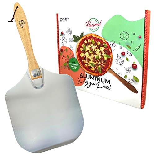 Aluminum Metal Pizza Peel and Foldable Wood Handle to Easily Store, Restaurant Grade 12 x 14 Inch Pizza Paddle, Sturdy Pizza Spatula Turner for Homemade Pizza &Bread Lovers in the Oven or BBQ Grill
