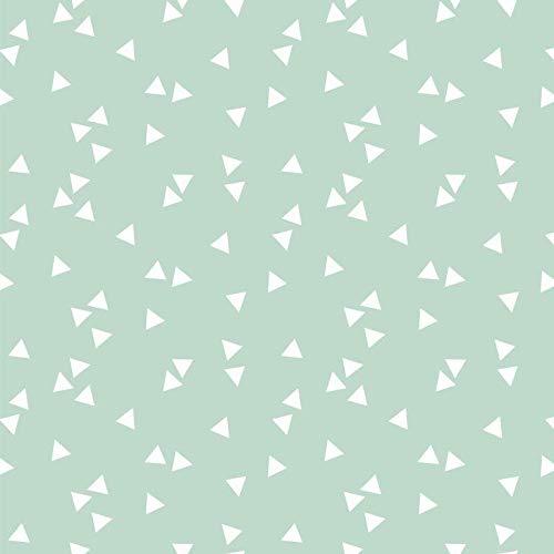 babrause® Baumwollstoff Dreiecke Mint Webware Meterware Popeline OEKOTEX 150cm breit - Ab 0,5 Meter