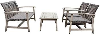4-Piece Dukap Monterosso Wood & Rattan Outdoor Sofa Seating Set