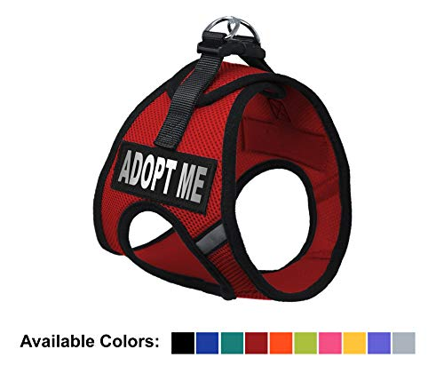 Dogline York Step-in Air Mesh Dog Harness with Adopt Me Patches No Choke Pet Vest Soft Gentle Padded Chest Halter for Puppies Small Medium and Large Dogs 22-24 Inches Girth Red