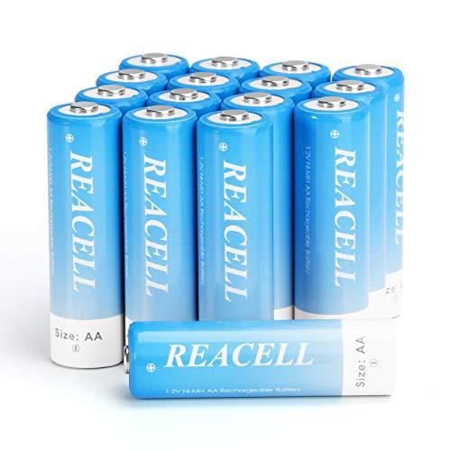 REACELL Pilas AA recargables (16 unidades, 2800 mAh, precargadas, Ni-MH, 1,2 V, baja autodescarga, con caja de almacenamiento)
