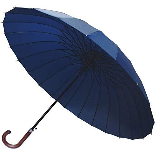 COLLAR AND CUFFS LONDON - 24 Rippen für Mehr Widerstandskraft - SEHR STARK - Dreifache Schicht Rahmen - Verstärkt mit Fiberglas - Automatik Stockschirm - Windproof Regenschirm Holzgriff Holz - Blau