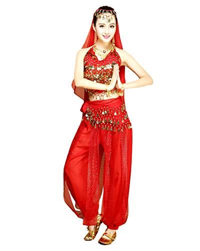 Grouptap Womens Bauchtänzerin 4-teiliges Kostüm Set Outfit rot mit Top Hose Kopfschleier Hüfttuch zum arabisch ägyptischen Tanzen (Rot, 150-170cm, 45-65kg)