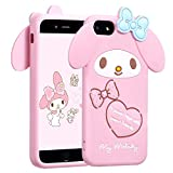 Allsky Case for iPhone 8/7/6/6S 4.7' Cartoon Soft Silicone Cute 3D Fun Cool Cover,Kawaii Unique Funny Kids Girls Teens Animal Character Rubbr Skin Shell Shockproof Funny Pink Cases for iPhone6 Melody