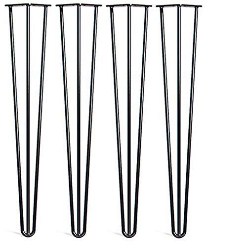 """Locisne 28 """"Three-Rod horquilla Metal de las patas de la mesa,Acero Fundido Negro 9mm,Paquete de 4,Estilo Moderno,Comedor,Muebles,Accesorios para Los Muebles de Madera,café,comedor(28"""" 3 rod)"""