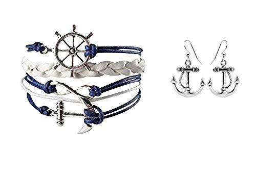 Nautical Anchor Charm Earrings & Bracelet for Women, Navy Rudder Anchor Braided Weave Leather Rope Infinity Love Bracelet