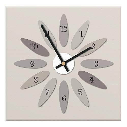 Mareli Horloge Murale 30 x 30 cm avec Cadran en Bois recouvert de Papier plastifié Mat imprimé, Convient pour Salon, Cuisine, Bureau-mécanisme Silencieux, Beige, 30 x 30 cm
