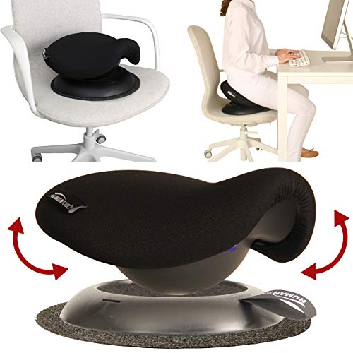 Portable Saddle Stool - Make Any Chair a Swinging Saddle Chair - Perfect for Ergonomic Office Chair - Makes A Great Gift for Coworkers and Friends - Comfortable Ergonomic Stool (Black) - by Humantool